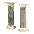 Marble pedestals each with white marble top and green shaft 39 x 13 12 sq
