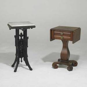 Two tables empire pedestal base sewing table together with a victorian marble top and ebonized wood table marble top 31 12 x 16 sq