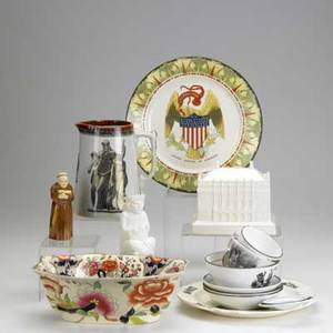 European porcelain and pottery sixteen pieces include transfer decorated plate seven pieces of early 19th c english transferware cauldon ivorine replica of the queens dollhouse royal worcester