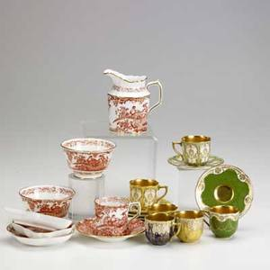 Royal crown derby royal doulton red aves includes three small dishes demitasse pair cream pitcher and two handleless cups 2 14 x 4 together with six enameled and gilt decorated demitasse pa