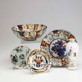 Asian style porcelain five pieces two imari bowls bud vase famille rose plate and european imari plate bowls 8 14