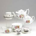 English porcelain sixteen pieces ten piece tea service in new hall pattern one marked and three cups and saucers 19th c tallest 3