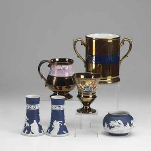 English porcelain three pieces of wedgewood adams pair of bud vases and a bulbous vase 19th c together with three pieces of copper lustre twohandled cider cup chalice and a stein 19th c tal
