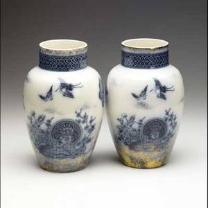 Ironstone pair of english transfer decorated vases 19th c each 10 12 x 6 dia