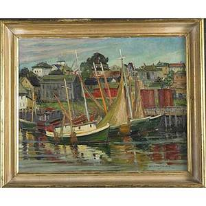 Mary ellen silkotch american 19111998 oil on canvas of fishing boats framed signed and dated 1951 16 x 20 provenance private collectiton pennsylvania