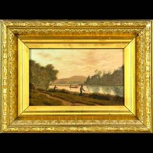 19th c european landscape oil on panel of a landscape with fishermen and boats framed illegibly signed 5 12 x 8 34