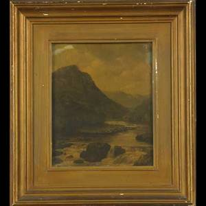 19th c british landscape oil on panel framed 11 x 9 together with oil on canvas still life framed illegibly signed 8 x 10