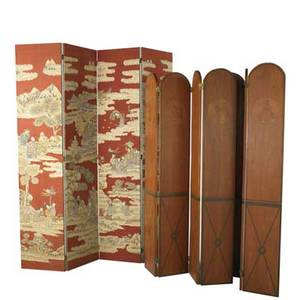 Three dressing screens foursection with asian design together with two matching painted foursection screens all 20th c largest 83 x 17 12 panel