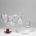 Glass and crystal grouping seven pieces include orrefors free form bowl cut crystal pitcher ruby cut to clear condiment jar and saucer etc tallest 8