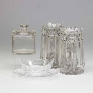 Cut glass or crystal five pieces include sinclair bowl and tray in greek key and ivy glass box and a pair of hurricane candlesticks tallest 8