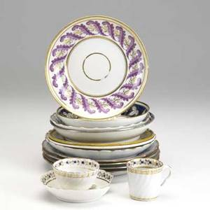 English french and export porcelain fourteen pieces include liverpool herculaneum bowl new hall pat 155 bowl four chinese export plates duchesse de berry choisy plat etc 18th19th c
