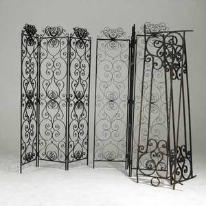 Wrought iron screens together with two wrought iron panels 114 x 20