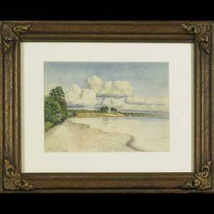 Five 20th c art works vaderdoes oil on board still life framed signed and dated 1933 14 12 x 21 jm bronte watercolor on paper of a beach framed signed and dated 1901 4 12 x 6 12 o