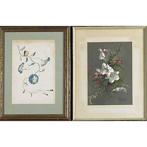 Carl weber american 18501921 watercolor of coastal scene framed signed 12 x 19 sight together with two watercolors of decorative floral panels framed each 12 x 9