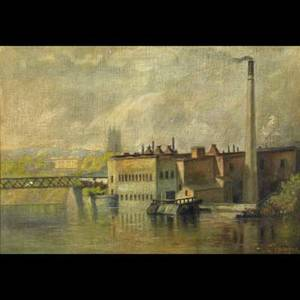American industrial scenes three artworks oil on canvasboard of industrial scene by a river 1926 framed signed r harvey and dated 20 x 26 grisaille illustration and engraving of factory bui