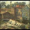 American small town scenes three oil on boardpaper town renderings by the same unknown artist framed each 14 x 14