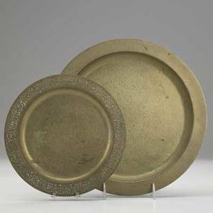 Tiffany studios two parcelgilt bronze trays larger stamped tiffany studios new york 1721 larger 12 dia