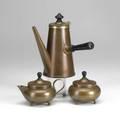Joseph heinrichs copper brass and ebonized wood threepiece coffee set each stamped 9