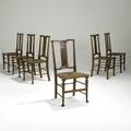 Morris  co six dining chairs with rush seats stamped 132b 37 x 17 12 x 16