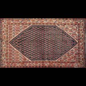 Persian seraband rug reds and blues with large central medallion ca 1970 53 x 87