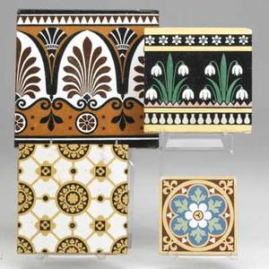 Christopher dresser attr eight minton geometric tiles two frieze tiles decorated with lotus and papyrus and two snowdrop tiles together with six minton tiles with abstract floral decoration eac