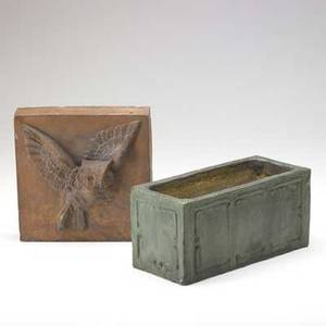Volkmar planter with incised geometric decoration together with a terracotta architectural tile decorated with an owl in low relief planter 5 x 10 34 x 5