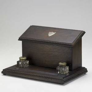 Arts  crafts oak inkwell stand with two crystal inkwells and integrated letter box 8 x 13 x 8 12