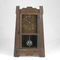 Arts  crafts oak mantle clock complete with pendulum and key 20 12 x 12 12 x 4 12