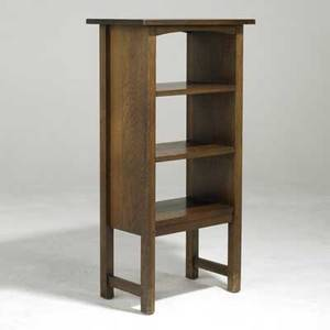 Charles stickley attr magazine stand with arched top rail and three shelves 42 x 22 x 13