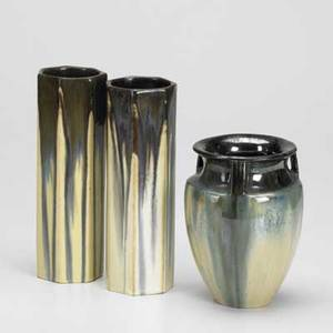 Fulper three vases in cats eye flambe glaze racetrack mark tallest 9