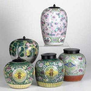 Chinese pottery five jars three in famille rose one in pink floral and one depicting insects and fauna 19th  20th c tallest 11 12