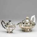 Two silver teapots lantern form with ivory handle and finial 11 12 beyond handle unmarked and individual teapot by barker bros chester 1906 279 ot