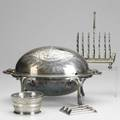 American and continental silver plate ovoid footed pivotcover bun warmer twelve bruckman knife rests toast rack and pierced jam bowl with glass liner bun warmer 9 x 15