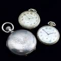 Three mens pocket watches hampden watch co coinsilver hunt case stem wind waltham art deco 14k gf silver face with red enamel hands and numbers 15 jewels weldwood illinois watch co gf art dec