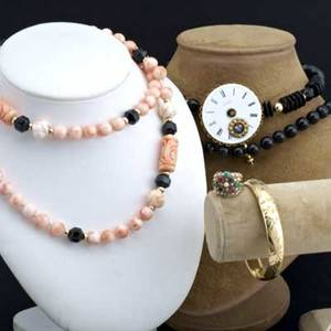 Five pieces of antique and asian jewelry carved coral and gold bead necklace onyx and gold bead necklace gemset gold stacking ring gf hinged bangle watch face pin