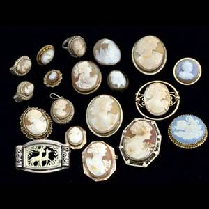 Modern and antique cameos nineteen pieces include shell cameo brooch set in 14k yg and wg shell cameo broochpendant with a 14k wg filigree frame wedgwood mythological converted stick pin five pie