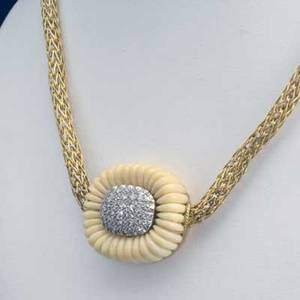 Diamond pave ivory 18k yg necklace fluted carved center with 80 ct tw diamonds on etruscan style woven chain 473 gs 18