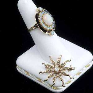 Enameled or gemset 14k gold jewelry enameled gold and opal cluster ring together with a diamond and split pearl sunburst pendantbrooch 113 gs ring size 7 12