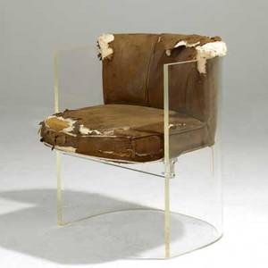 Vladimir kagan lucite barrel chair with upholstered seat and back 29 x 23 x 22
