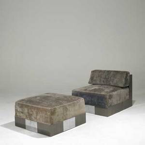 Paul evans cityscape lounge chair and ottoman in bronze and bright chrome upholstery labels chair 27 x 30 x 37