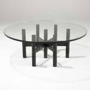 Paul evans welded and patinated steel coffee table with glass top 16 14 x 41 34