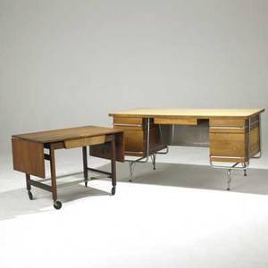20th c furniture raymond loewy desk together with a jens risom cart desk 29 12 x 60 x 30