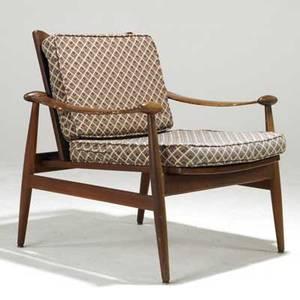 Finn juhl france  sons teak spade lounge chair metal john stuart label 31 x 29 x 33
