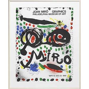 Joan miro spanish 18931983 two offset lithographs in colors framed separately joan miro graphics philadelphia museum of art 1966 25 x 19 sight and untitled 12 14 x 9 12 sight