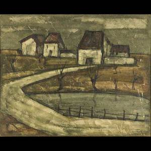 Enrico campagnola italian 19111984 oil on canvas of an abstract landscape framed signed campagnola paris 57 24 30 exhibition gallerie severtyfive ny label on verso