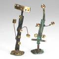 Winni brueggemann two figural phosphorous patinated and polished bronze sculptures each signed wb 08 taller 7 34