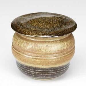 Karen karnes stoneware lidded vessel with foliate pattern inscribed kk 5 14 x 5 12
