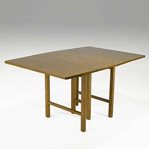 Edward wormley dunbar walnut dropleaf dining table with four leaves rectangular brass dunbar label open without leaves 29 12 x 56 14 x 39 14 closed 29 12 x 24 x 39 14 leaves 12 w