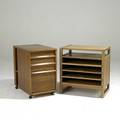 Edward wormley drexel elm side table and rolling cart each branded table 26 x 25 x 16
