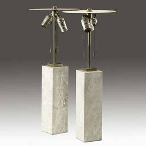 Hansen pair of brass and beige marble table lamps with enameled metal reflectors reflectors stamped hansen new york 22 x 9